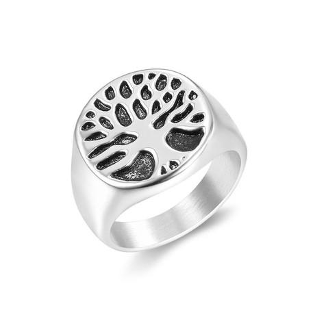Tiny Tree of Life Signet Ring // White (Size 7)