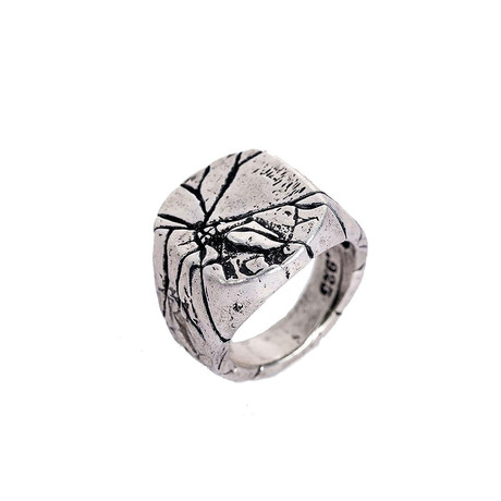 Stainless Steel Cracked Aged Signet Ring // White (Size 7)