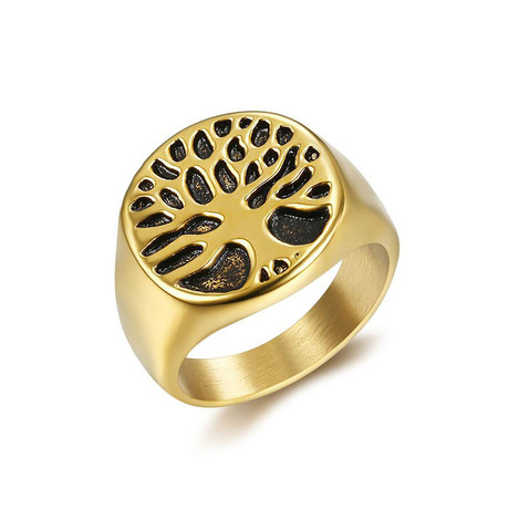 Tiny Tree of Life Signet Ring // Yellow (Size 7)