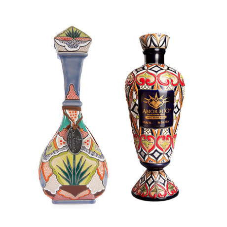 Tequila Special Ceramic Bottle Set // Dulce Amagura x Amor Mío // Set of 2 // 750 ml Each