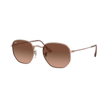 Unisex Hexagonal Flat Lens Sunglasses // Bronze Copper + Brown Gradient