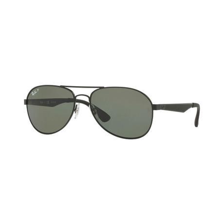Unisex Aviator Polarized Sunglasses // Black + Green
