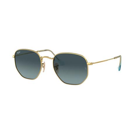 Unisex Hexagonal Flat Lens Sunglasses // Gold + Gray Gradient
