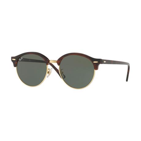 Unisex Round Clubmaster Sunglasses // Tortoise Gold + Gray
