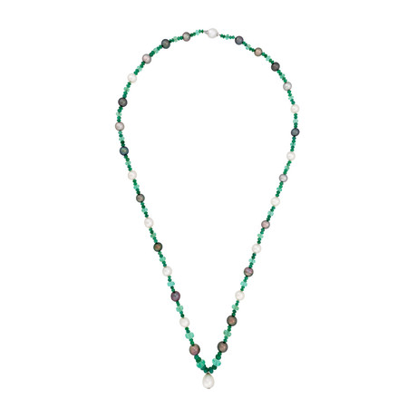 Assael 18k White Gold Emerald + Tahitian Pearl + South Sea Pearl Necklace