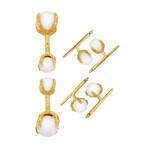 Assael 18k Yellow Gold Japanese Akoya + South Sea Pearl Cufflinks Set
