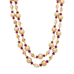 Assael 18k Yellow Gold Single Strand Moonstone + Ruby + Golden South Sea Pearl Necklace