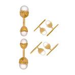 Assael 18k Yellow Gold South Sea Pearl + Japanese Akoya Pearl Cufflinks Set