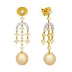 Assael 18k Two-Tone Gold Diamond + Golden South Sea Pearl Earrings