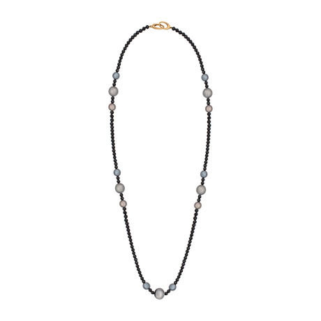 Assael 18k Yellow Gold Single Strand Black Spinel + Tahitian Pearl Necklace