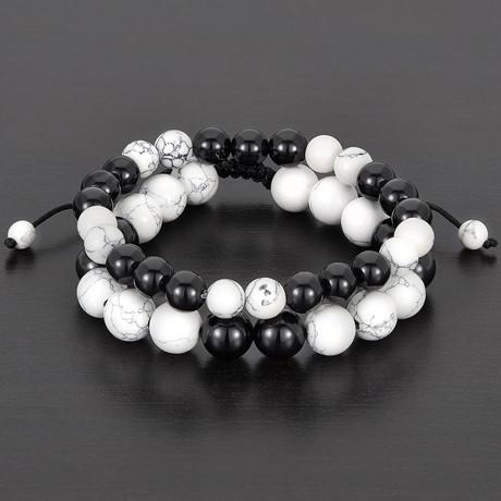 Polished Agate + Howlite Natural Stone Bracelet Set // Black + White