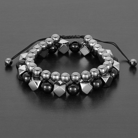 Natural Faceted + Round Hematite + Round Agate Natural Stone Bracelet Set // Black + Gray