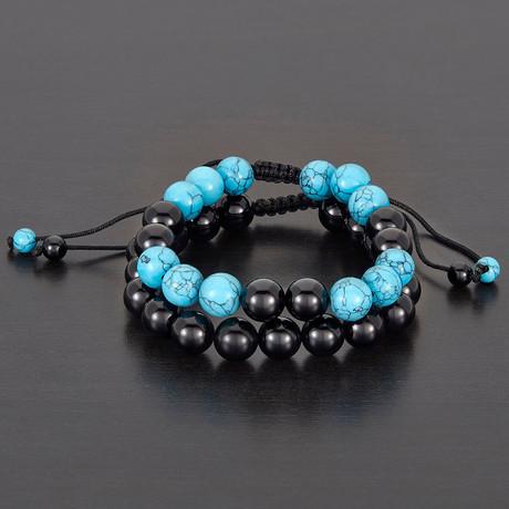 Polished Agate + Turquoise Natural Stone Bracelet Set // Black + Blue