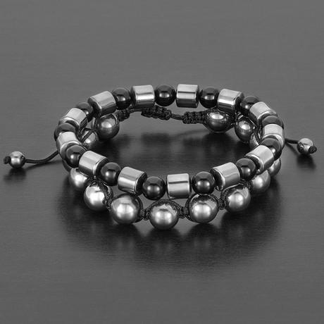 Barrel + Round Hematite Beads + Polished Agate Natural Stone Bracelet Set (Gold)