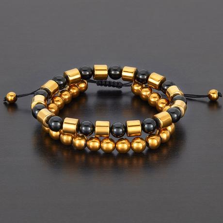 Barrel + Round Hematite Beads + Polished Agate Natural Stone Bracelet Set // Gold + Black