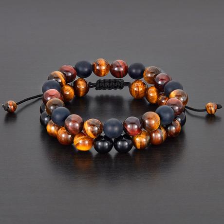 Tiger Eye + Agate Natural Stone Bracelet Set // Black + Brown