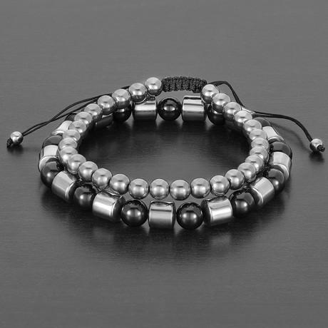 Natural Barrel + Round Hematite + Round Agate Natural Stone Bracelet Set // Black + Gray