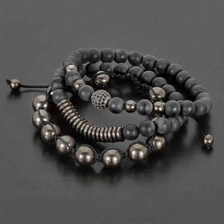 Hematite + Matte Agate Natural Stone Bracelet Set // Set of 3 (Black)