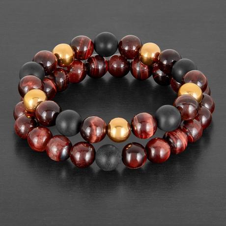 Stainless Steel + Tiger Eye + Agate Natural Stone Bracelet Set // Black + Red + Gold