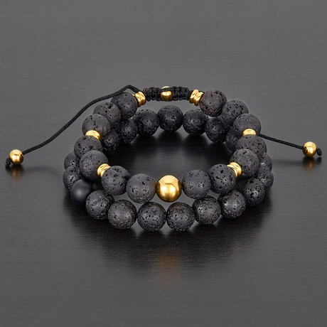 Stainless Steel + Lava Natural Stone Bracelet Set // Black + Gold