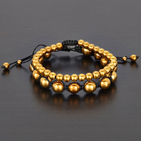 Round Hematite Natural Stone Bracelet Set // Gold