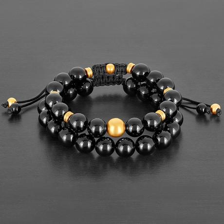 Stainless Steel + Polished Agate Natural Stone Bracelet Set // Black + Gold