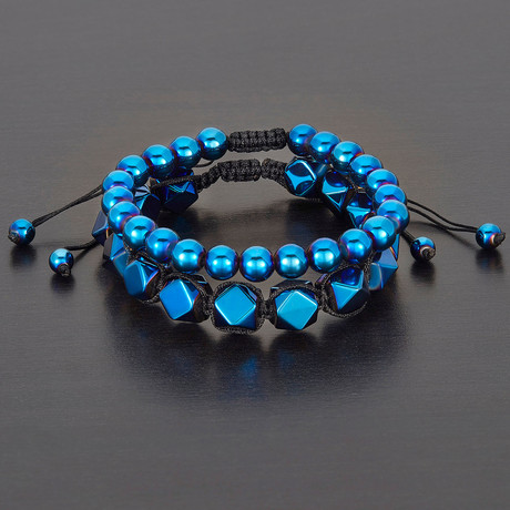 Faceted + Round Hematite Natural Stone Bracelet Set // Blue