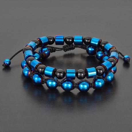 Barrel + Round Hematite Beads + Polished Agate Natural Stone Bracelet Set // Blue + Black