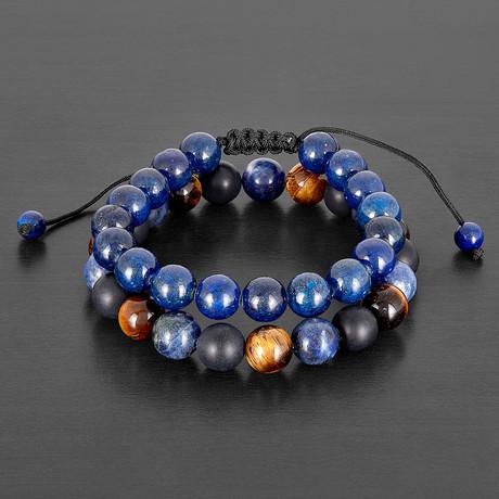 Lapis Lazuli + Tiger Eye + Sodalite + Matte Agate Natural Stone Bracelet Set // Blue + Brown + Black