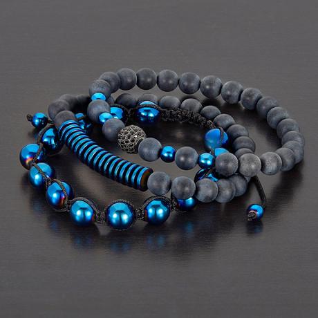 Hematite + Matte Agate Natural Stone Bracelet Set // Set of 3 (Blue)