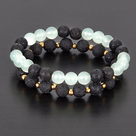 Stainless Steel + Lava + Quartz Natural Stone Bracelet Set // Black + Light Blue