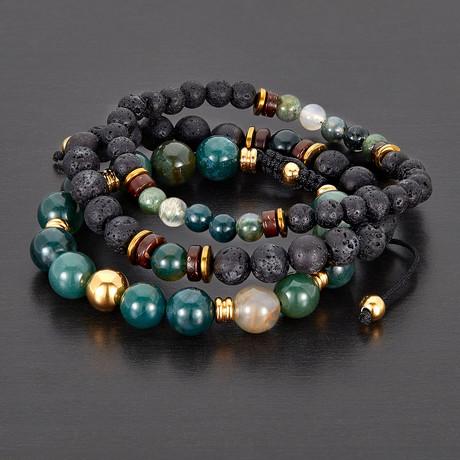 Stainless Steel + Moss Agate + Hematite + Wood + Lava Natural Stone Bracelet Set // Multicolor