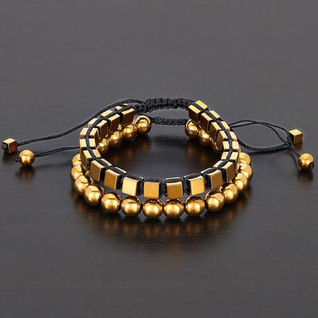 Round + Cube Hematite Natural Stone Bracelet Set (Gold)