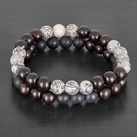 Picture Jasper + Matte Agate + Dark Red Wood Natural Stone Bracelet Set // Black + Brown + Gray