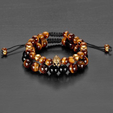 Stainless Steel Spartan Helmet + Tiger Eye + Agate Natural Stone Bracelet Set // Black + Brown + Red