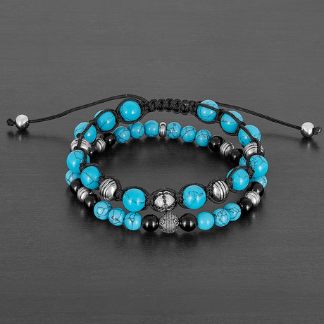 Stainless Steel + Turquoise + Polished Agate Natural Stone Bracelet Set // Silver + Black + Blue