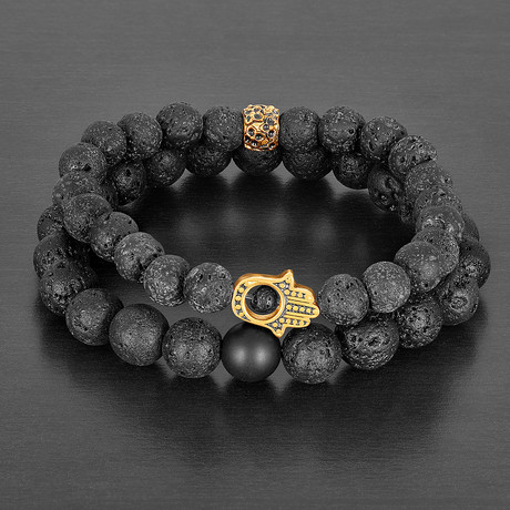 Stainless Steel Hamsa + Lava + Matte Agate Natural Stone Bracelet Set // Gold + Black