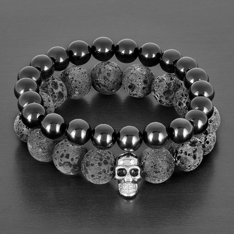 Stainless Steel Skull + Lava + Polished Agate Natural Stone Bracelet Set // Black