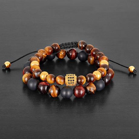 Stainless Steel + Tiger Eye + Agate Natural Stone Bracelet Set // Brown + Red + Black