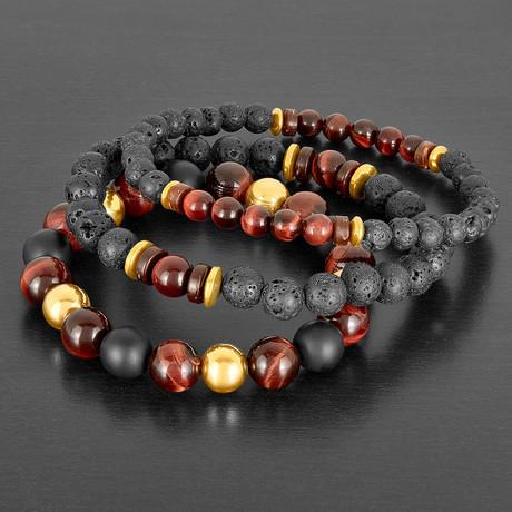 Stainless Steel + Tiger Eye + Hematite + Wood + Lava Natural Stone Bracelet Set // Black + Brown + Gold