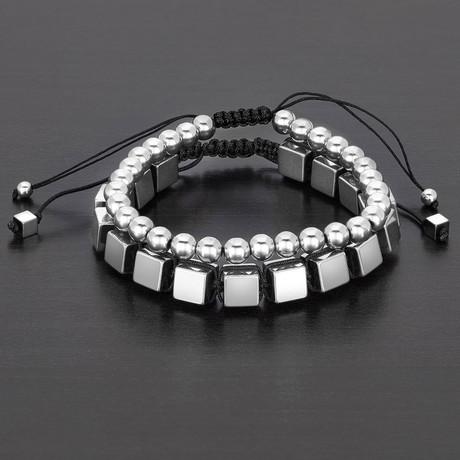 Round + Cube Hematite Natural Stone Bracelet Set // Silver