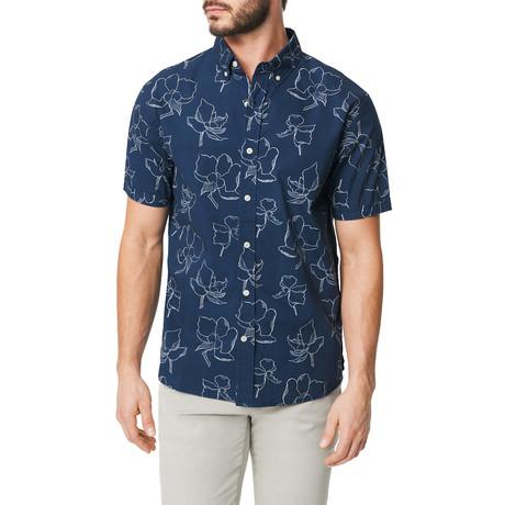 Short Sleeve Button Down Shirt // Floral Line Print (S)