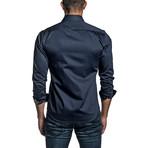 Long Sleeve Button Up Shirt // Navy (XL)