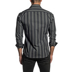 Striped Long Sleeve Button Up Shirt // Black (L)