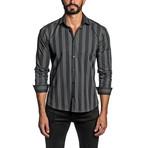 Striped Long Sleeve Button Up Shirt // Black (XL)