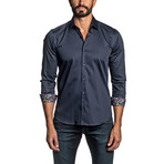 Long Sleeve Button Up Shirt // Navy (L)