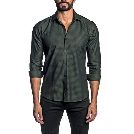 Derek Jacquard Long Sleeve Button Up Shirt // Green (S)