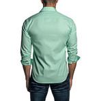 Jacquard Long Sleeve Button Up Shirt // Green (M)