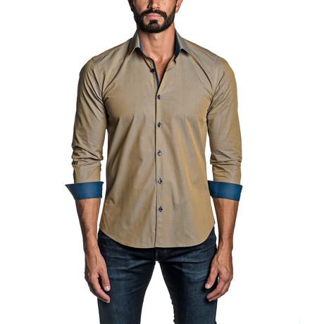 Long Sleeve Button Up Shirt // Tan (S)