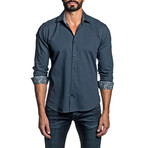 Long Sleeve Button Up Shirt // Dark Blue (L)